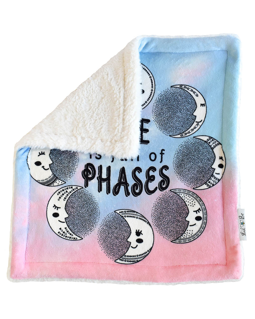 Moon Phases Plush Security Blanket Back View of Sherpa