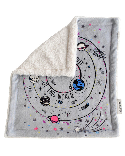 Galaxy Plush Security Baby Blankie Back View of Sherpa