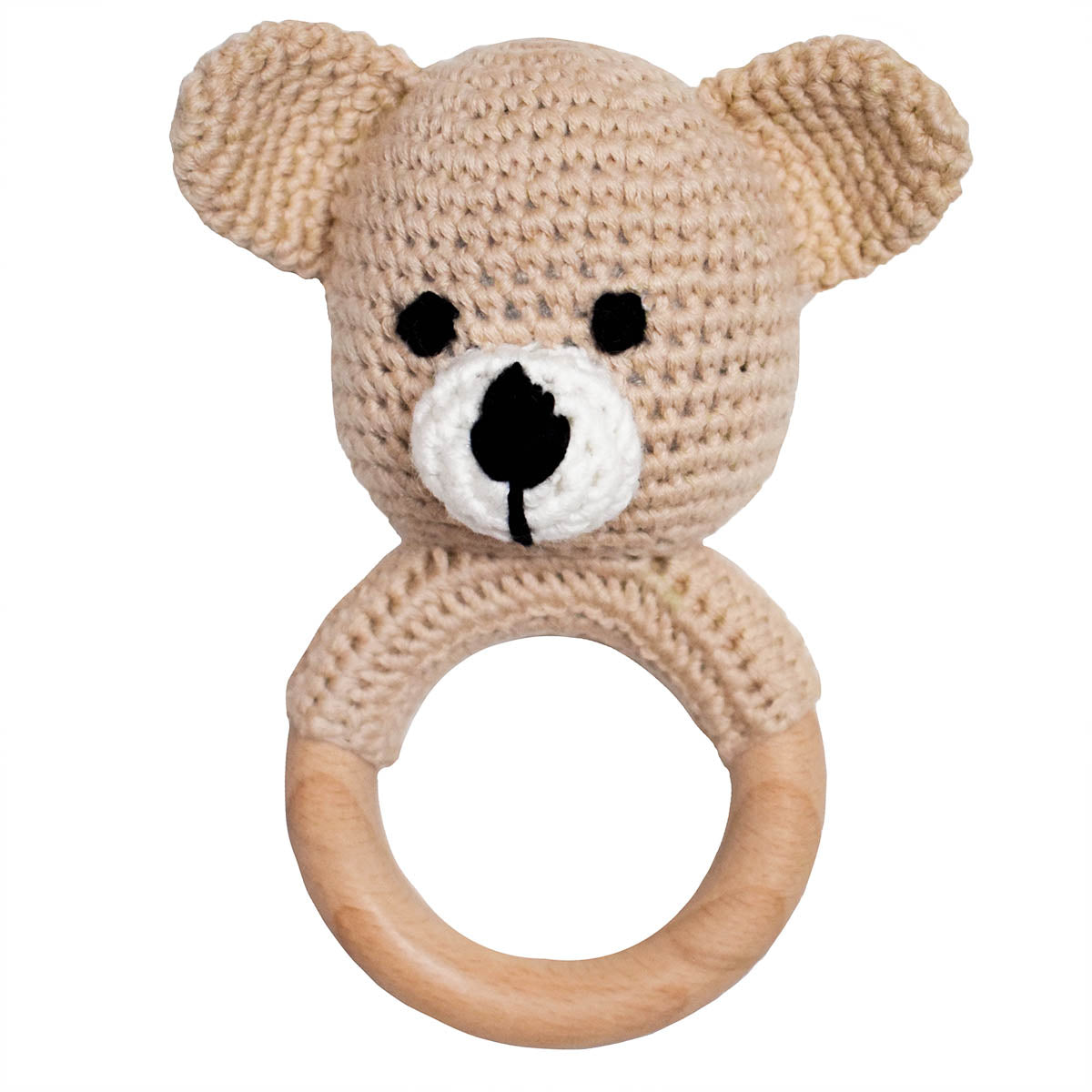 Light Tan Crochet Teether Rattle with Beechwood Ring Handle