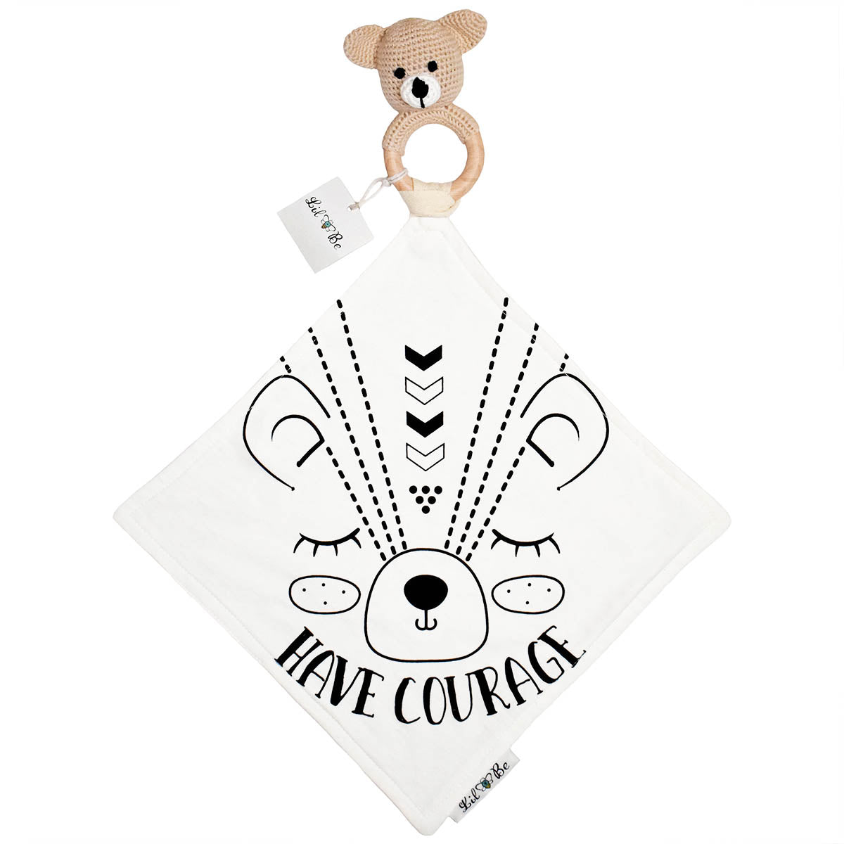 Bear Teether Rattle with Bear Have Courage Graphics Mini Blanket