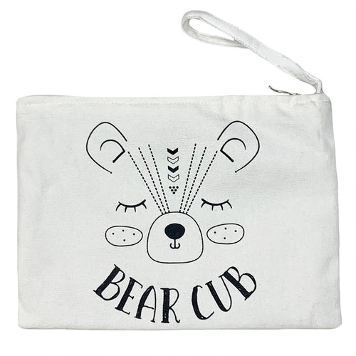 Natural Zipper Pouch with Bear Cub Graphic