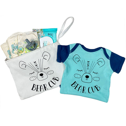 gift idea with onesie and zipper pouch as a mini diaper bag