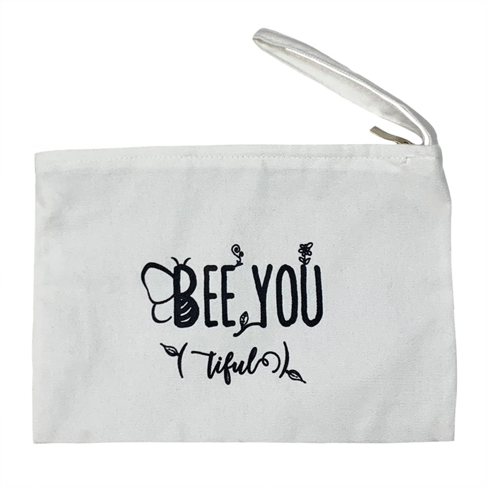 Natural Zipper Pouch with Bee You(tiful) graphic