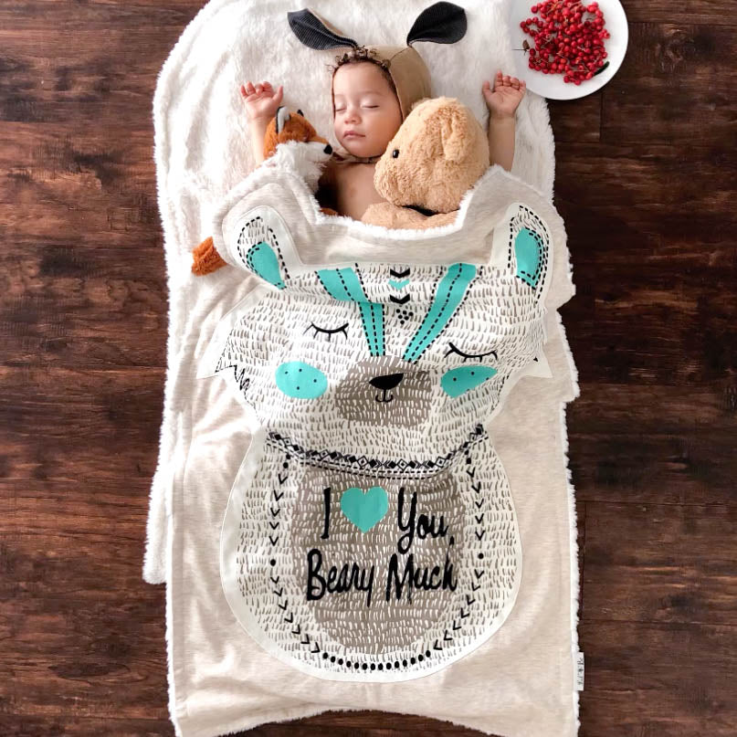 Baby Boy Sleeping with Berry the Bear Blanket