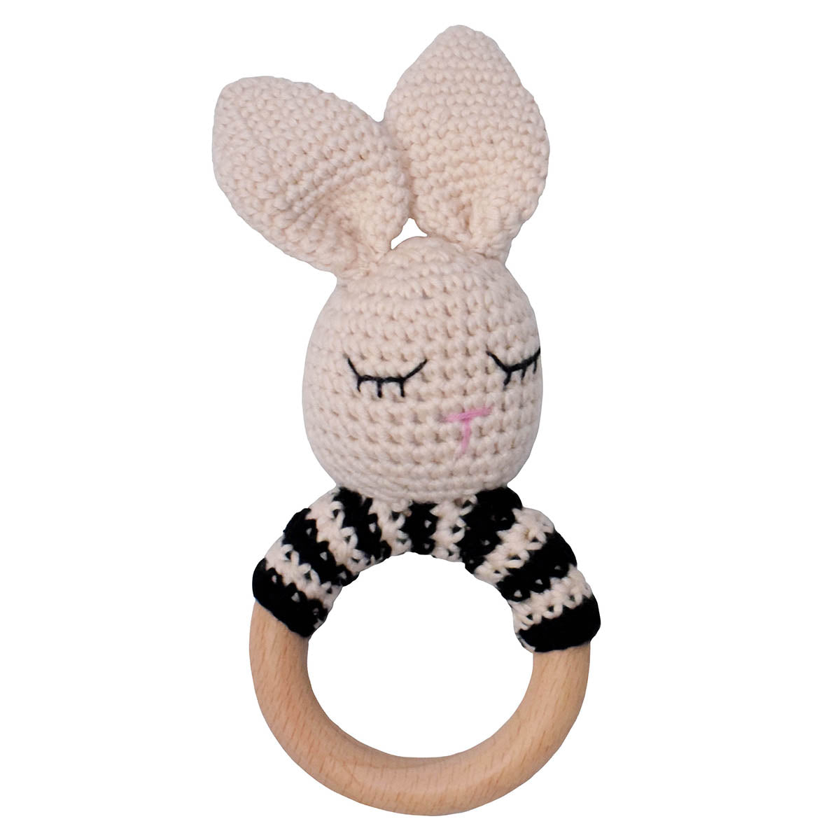 Ivory and Black Bunny Crochet Rattle with Beechwood Handle