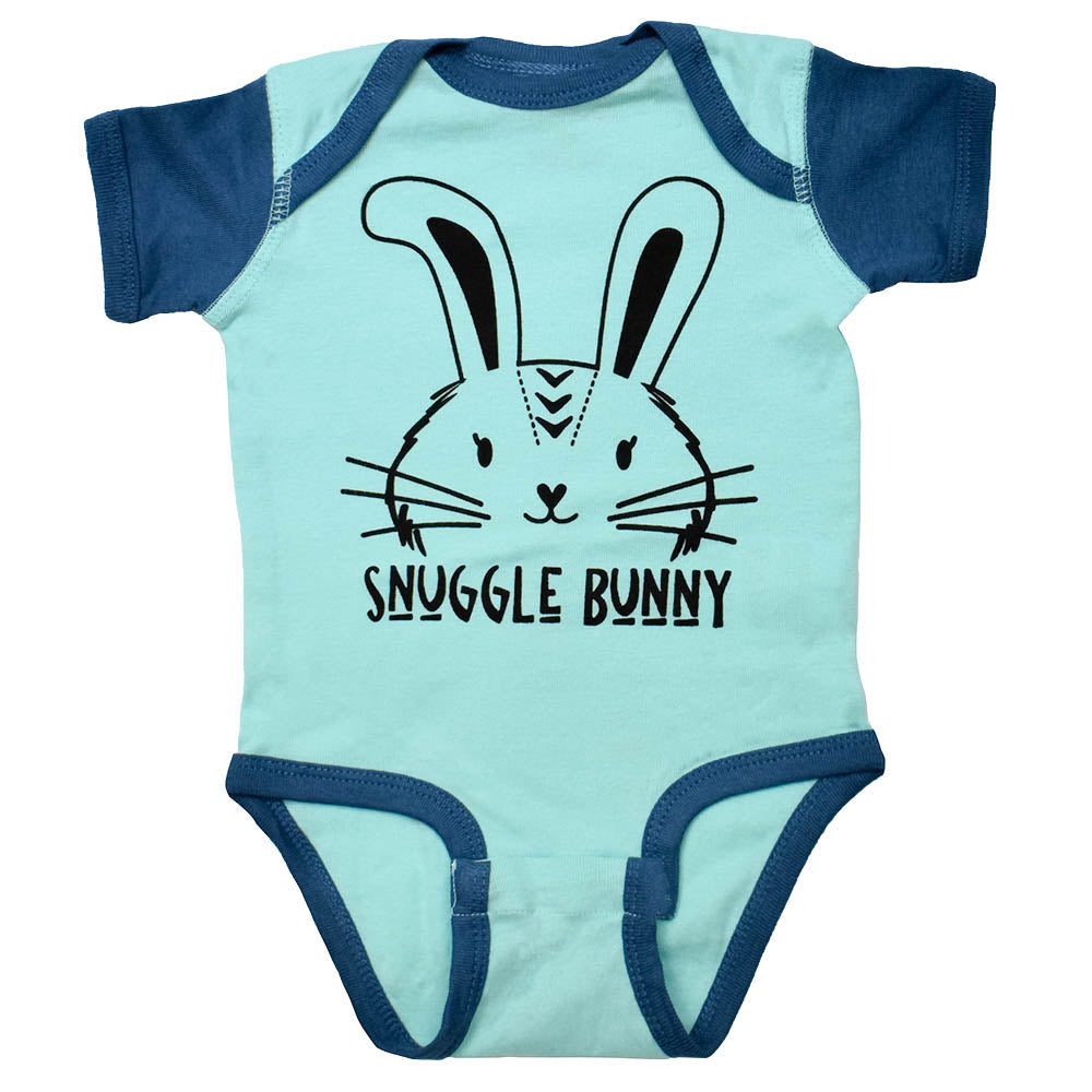 Bunny Onesie with Snuggle Bunny Graphic in Chill Blue Color