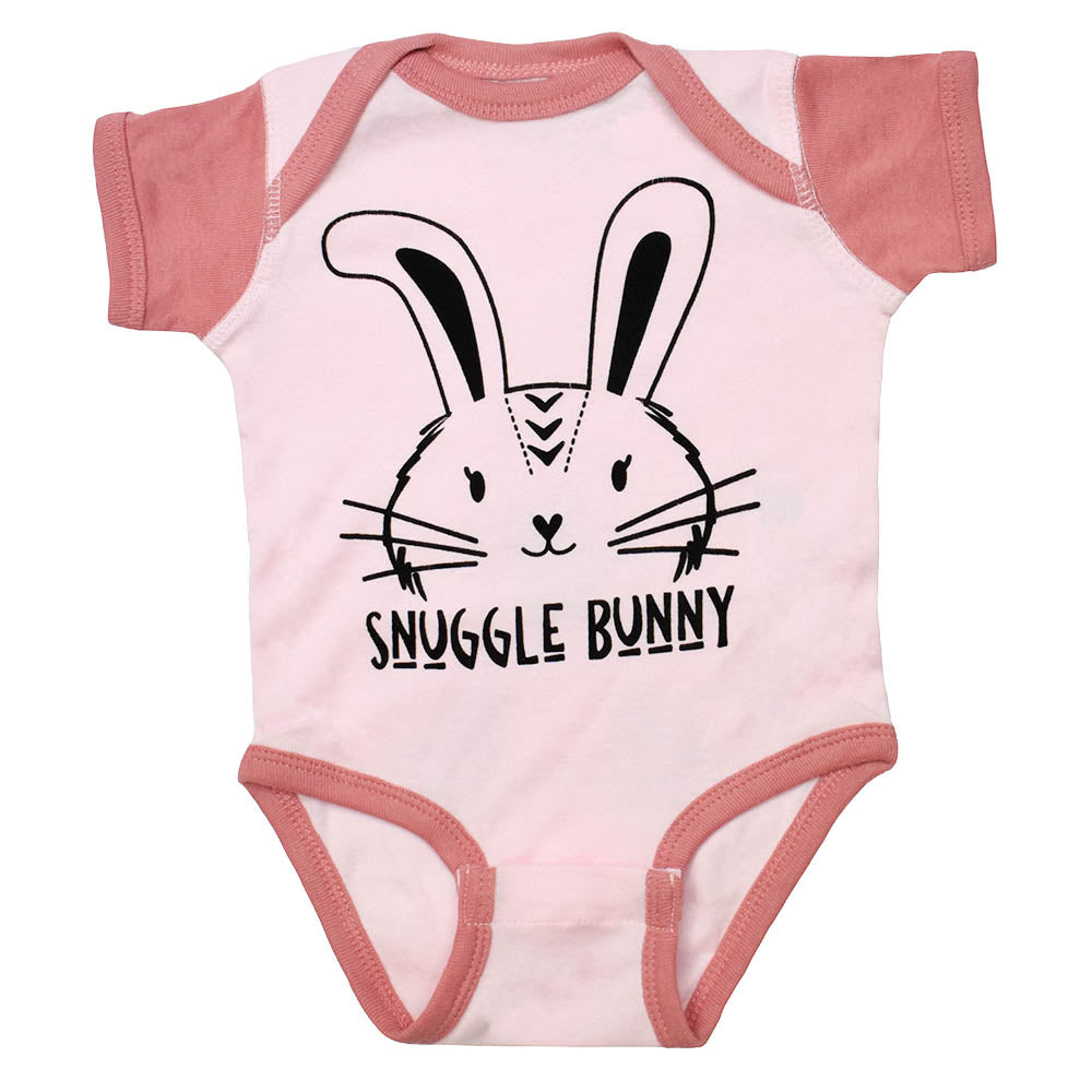 Bunny Onesie with Snuggle Bunny Graphic in Pink Rose Color