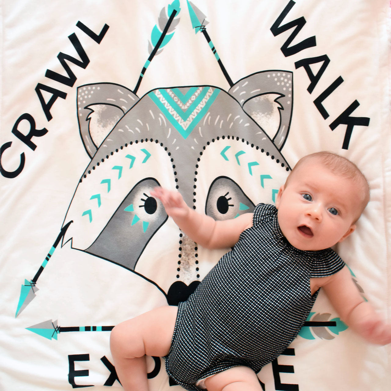 Baby girl on Crawl Walk Explore baby blanket