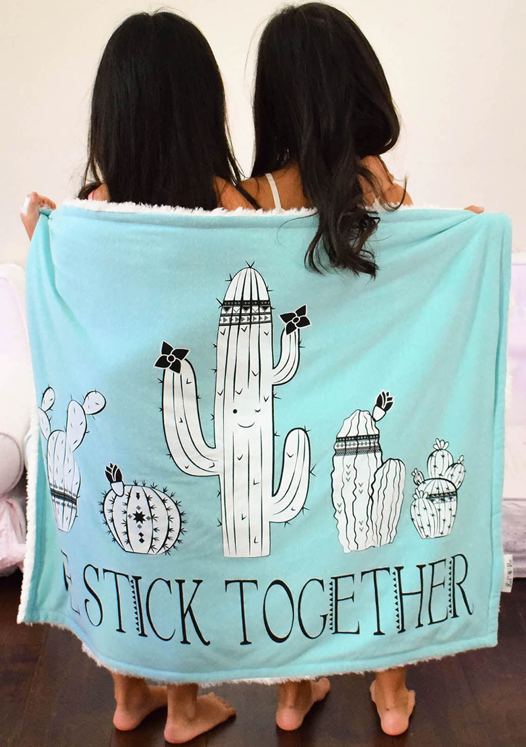 Twin Girls Holding Cactus We Stick Together Baby Blanket
