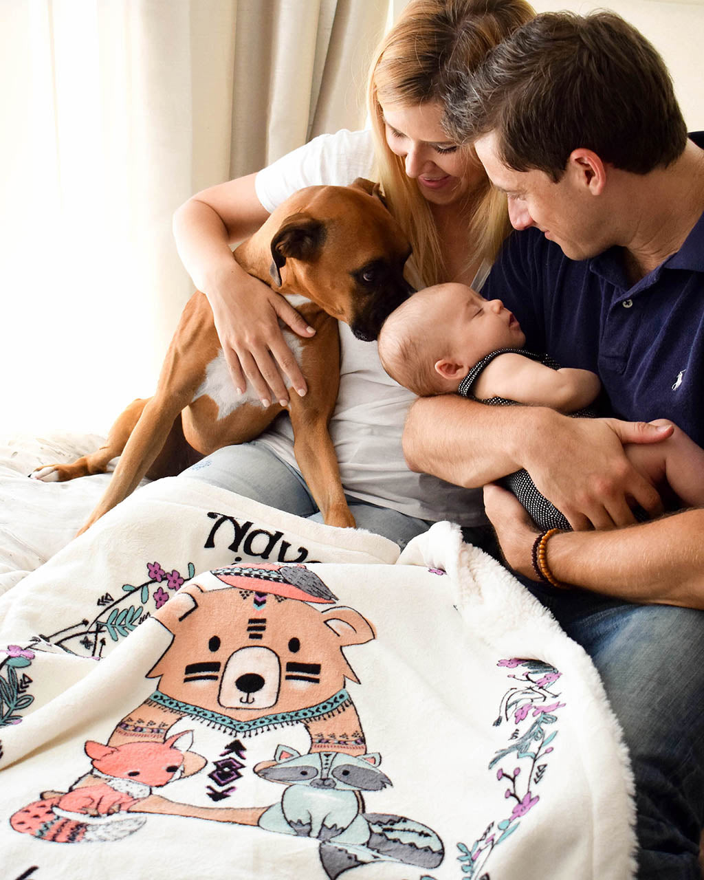 Lifestyle Picture of Family with Adventure Plush Blanket