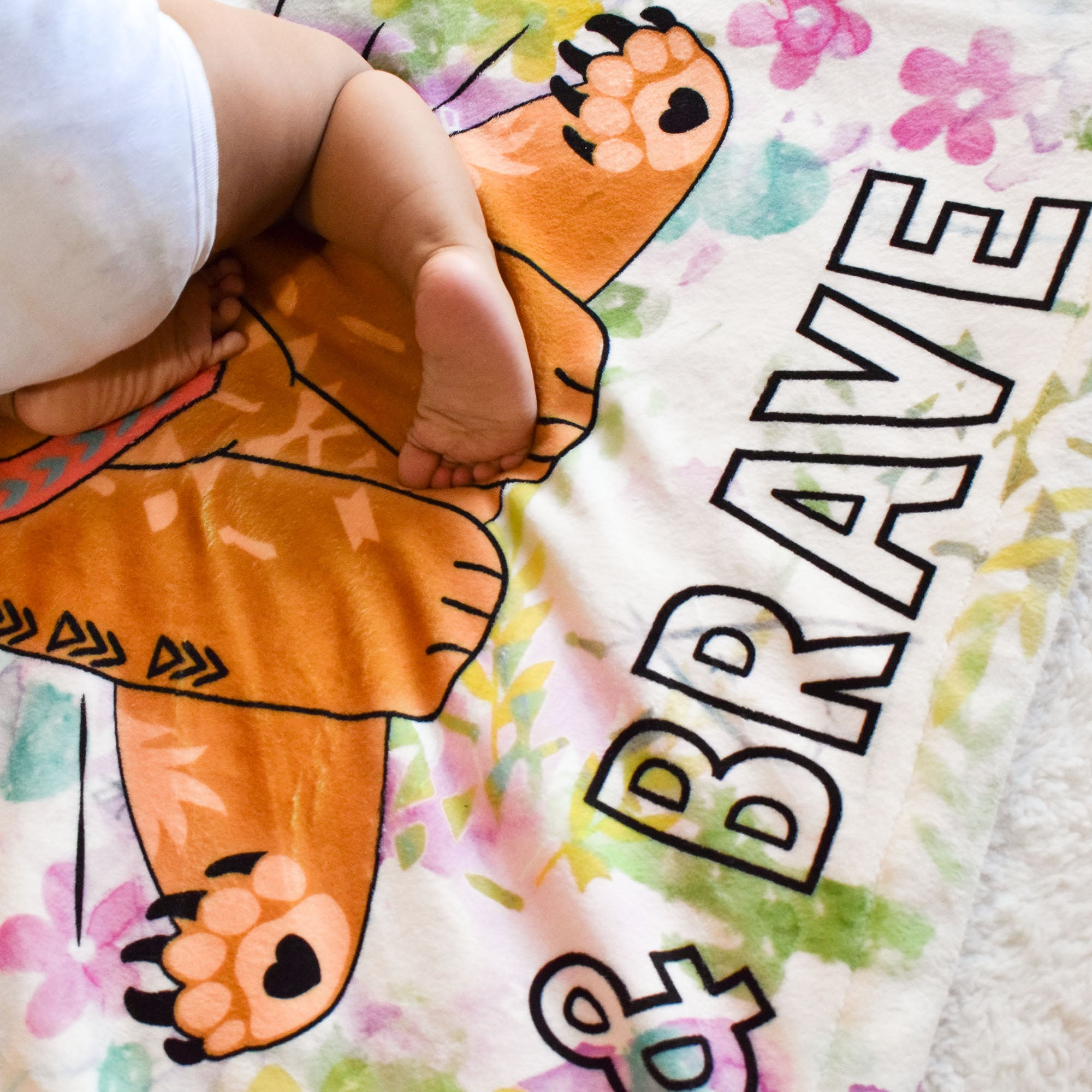 Baby Feet on Be Strong & Brave Plush Blanket