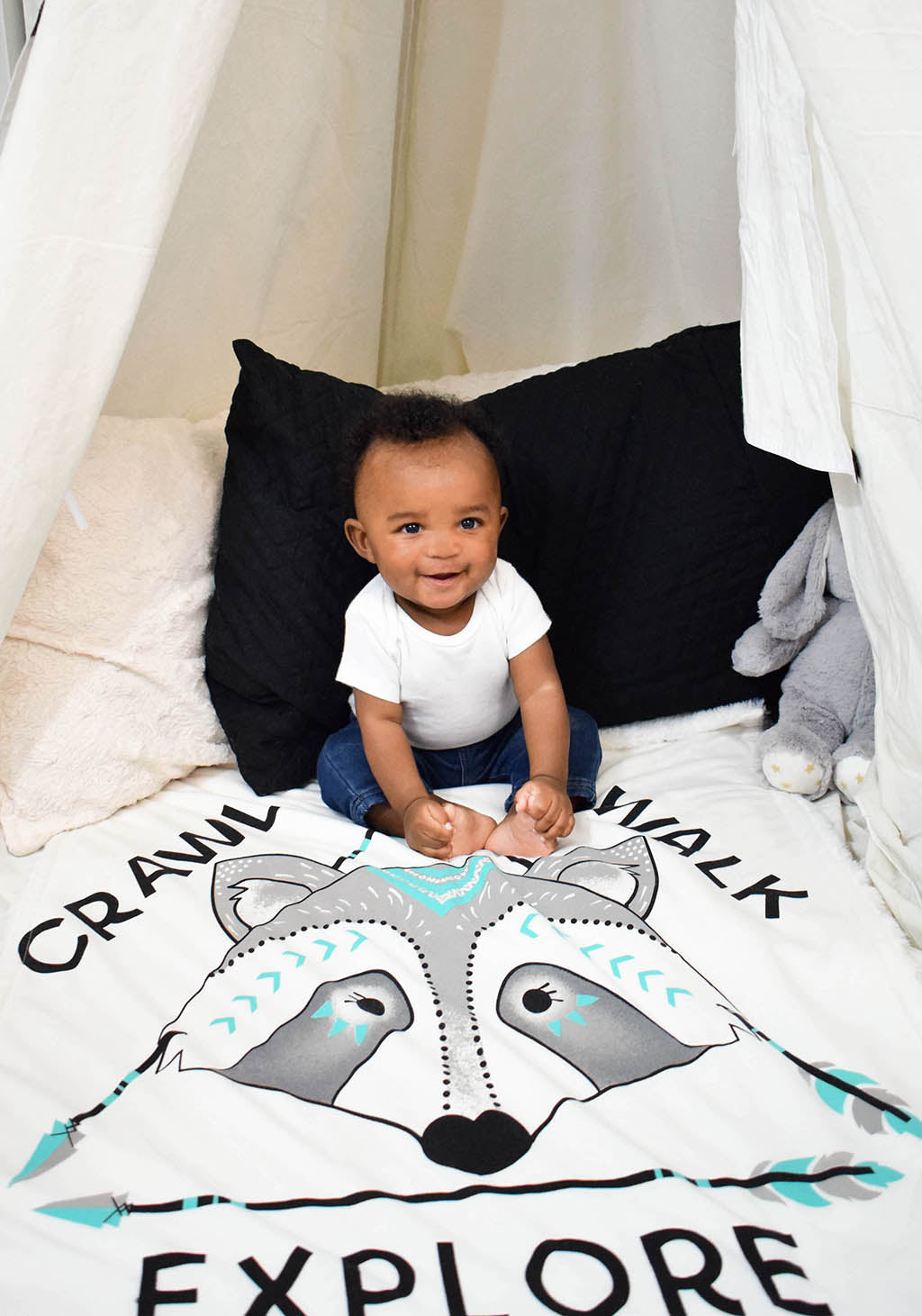 Baby Boy in Tepee on Raccoon Cozy Baby Blanket Crawl Walk Explore