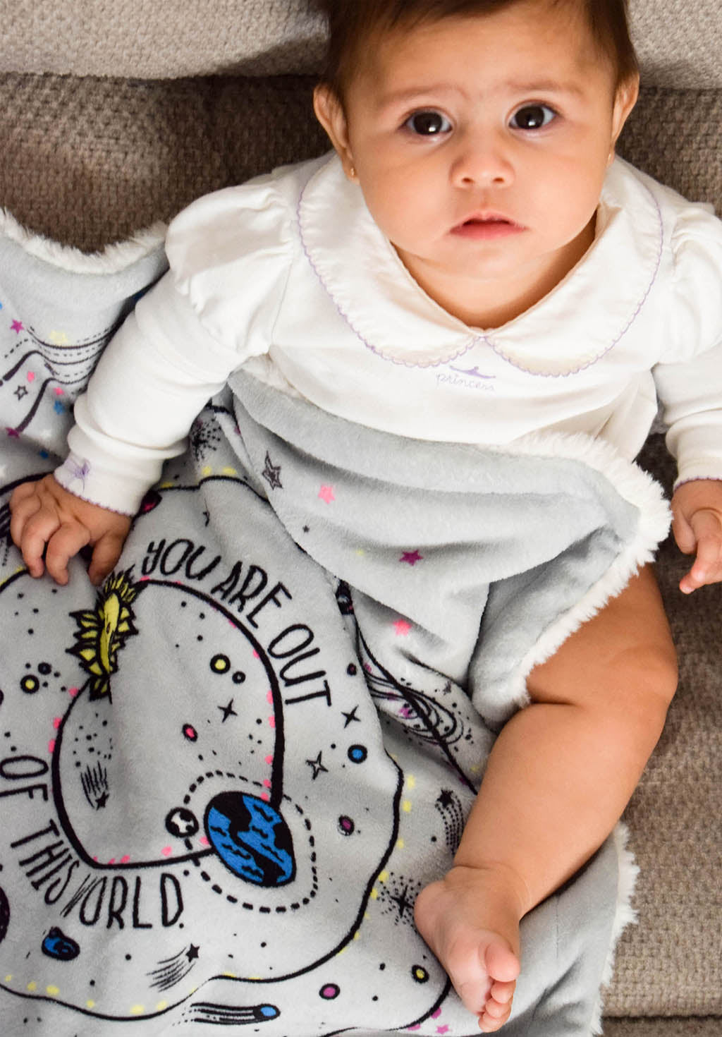 Baby Boy with Galaxy Security Blankie You Are Out of this World