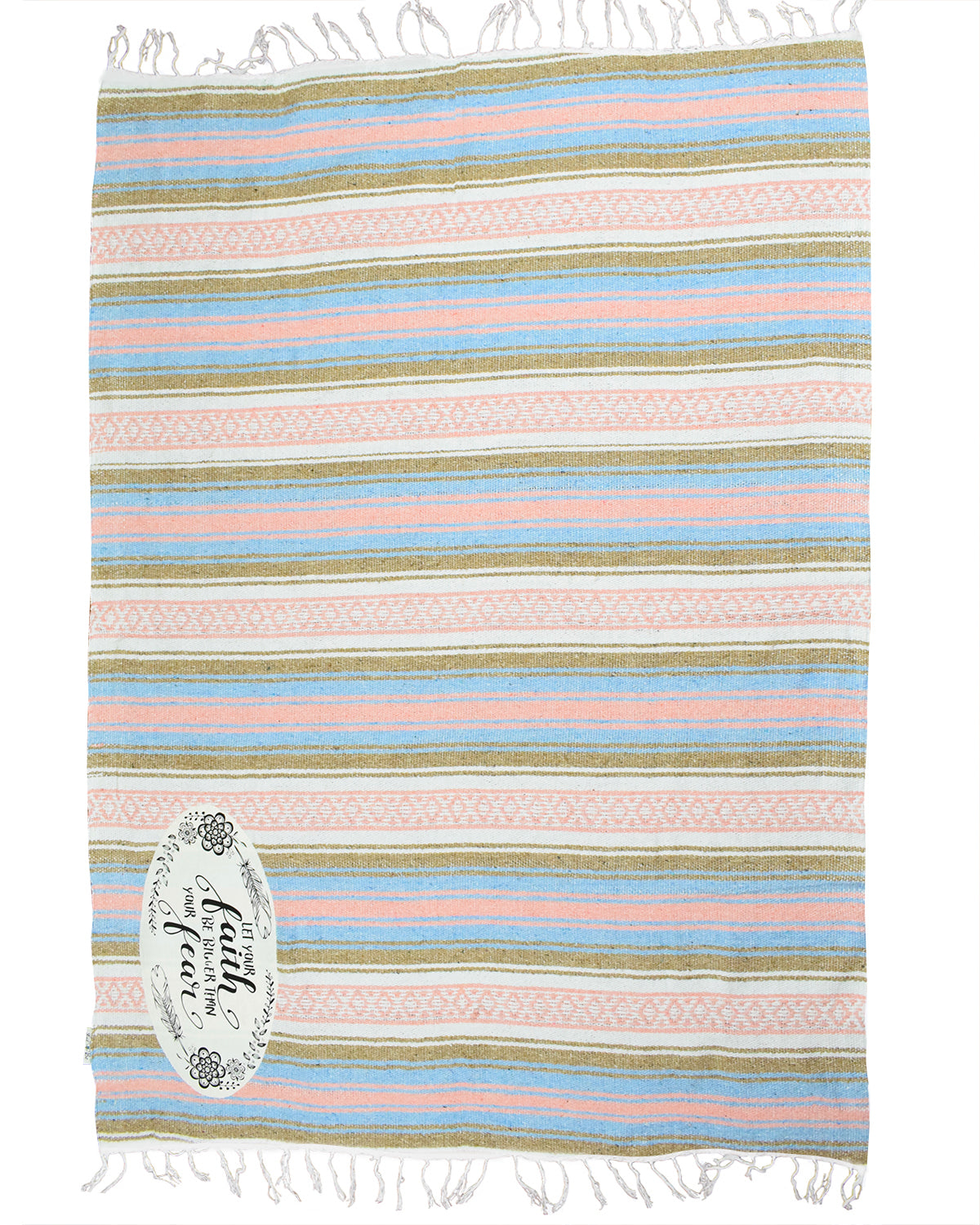 "Textured Family Blanket Single Layer ""Faith"" - Coral/Blue"