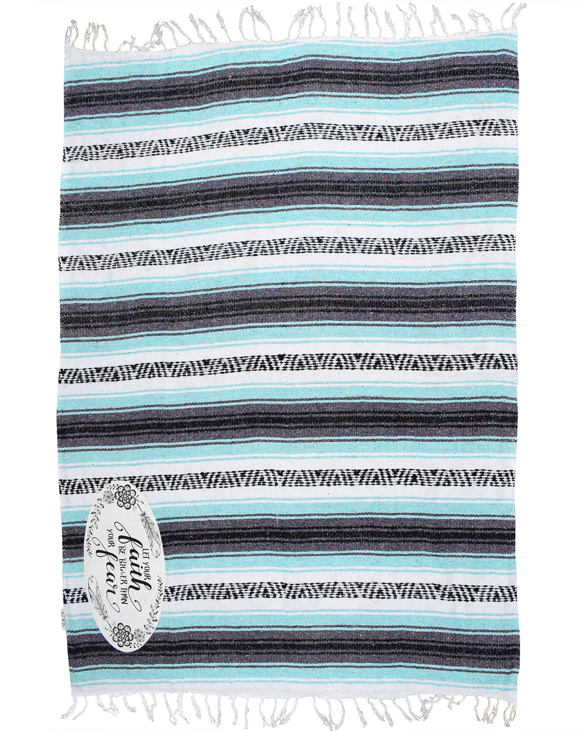 "Textured Family Blanket Single Layer ""Faith"" - Mint"