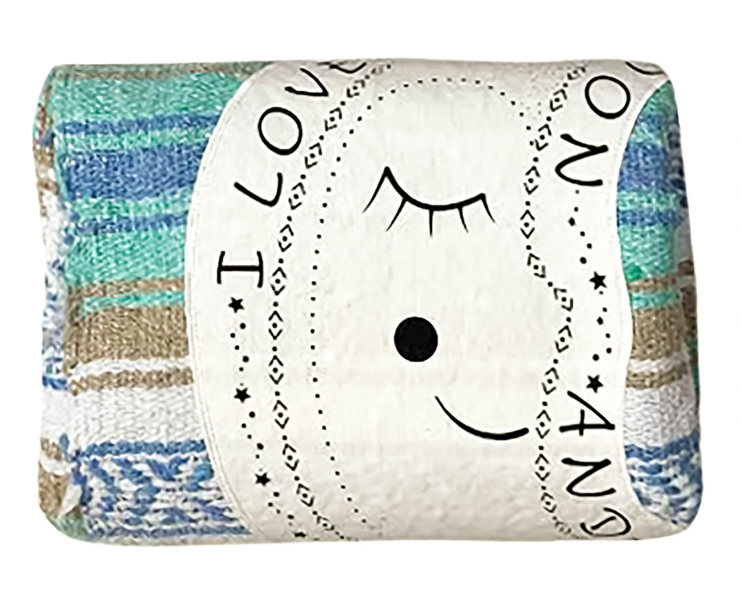 "Textured Family Blanket Single Layer ""I Love You to the Moon"" - Blue/Tan"