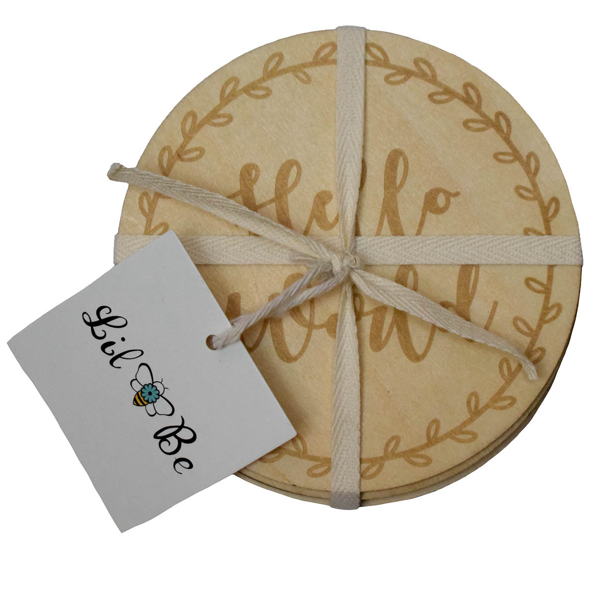 Baby Monthly Milestone Wood Discs Wrapped in Ribbon with Lil Be Tag