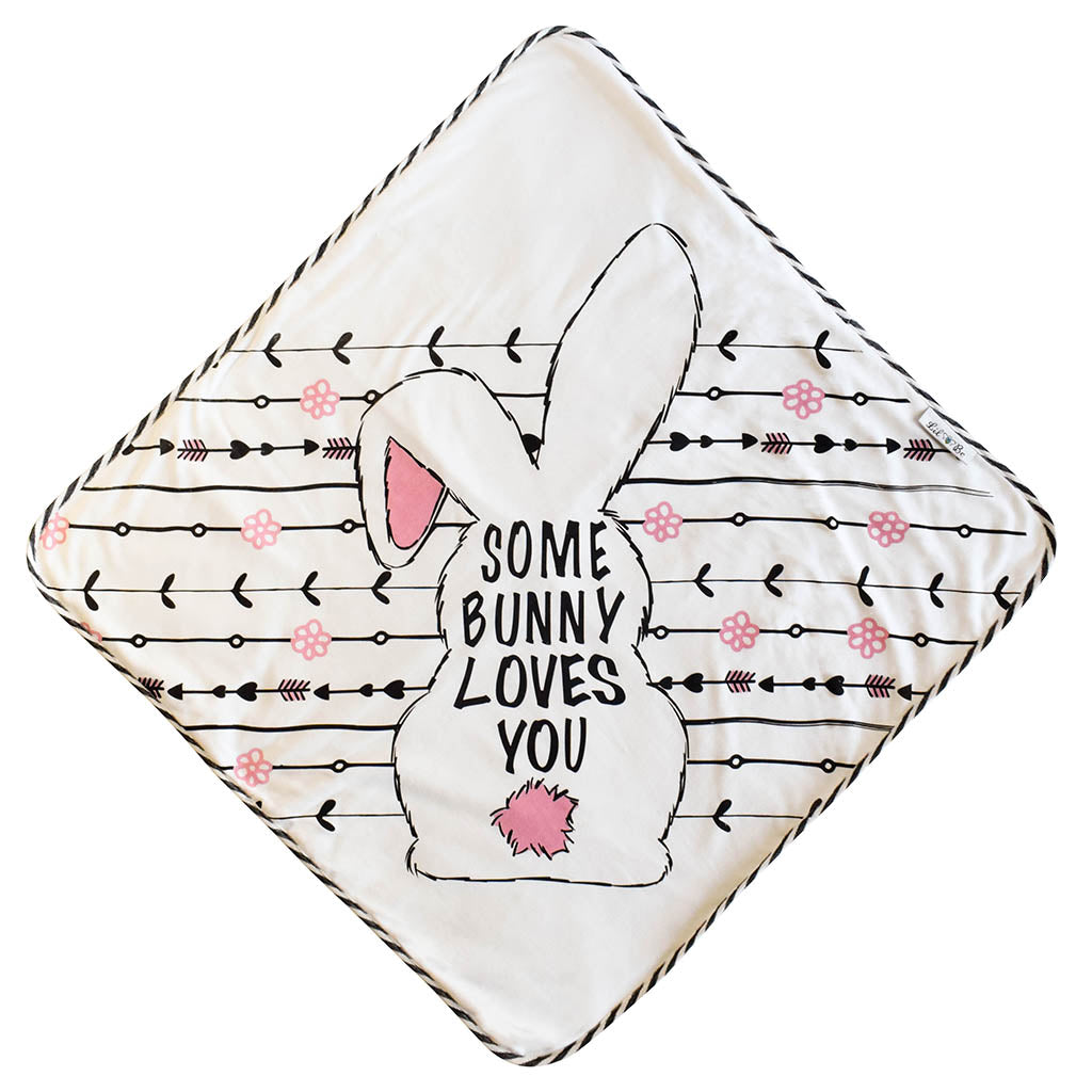 Soft Hooded Towel with Back View of Bunny Saying Some Bunny Loves You Graphic