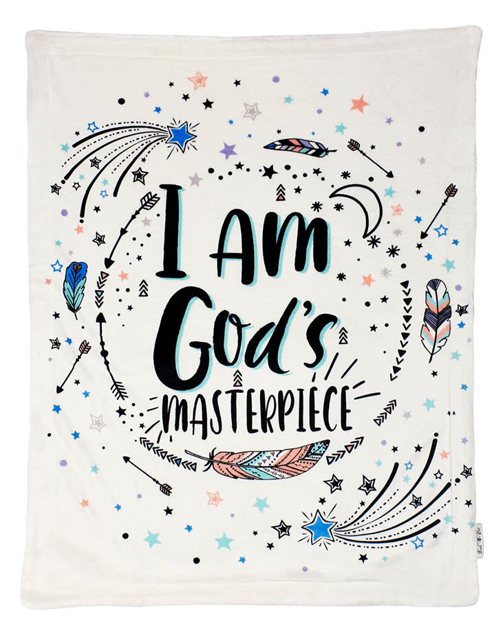 Plush Baby Blanket with I Am God's Masterpiece Graphic