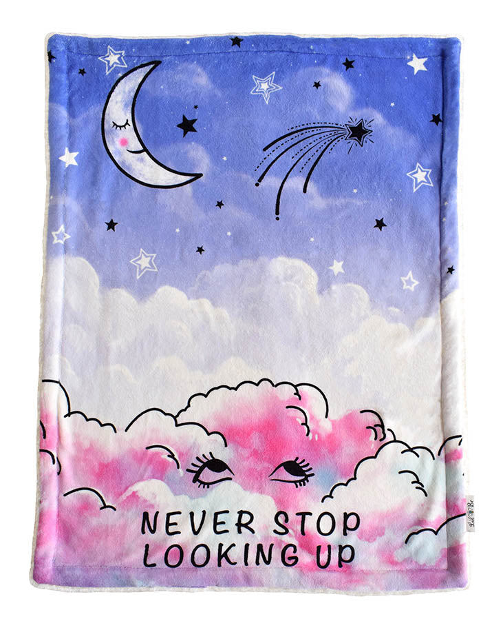 Plush Baby Blanket of Sky and Clouds with Never Stop Looking Up Graphic
