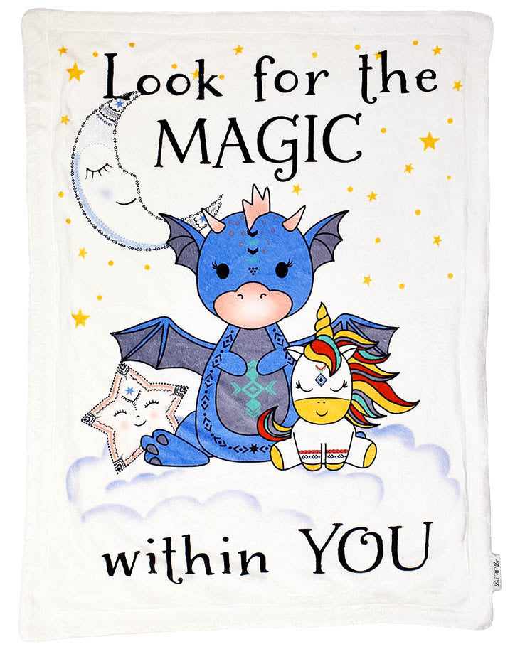 Plush Baby Blanket with Dragon, Unicorn, Moon, and Star Saying Look for the Magic Within You Graphic
