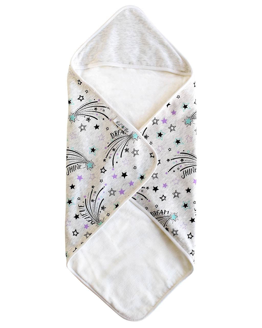Shooting Star Baby Hooded Towel with Front Folded View