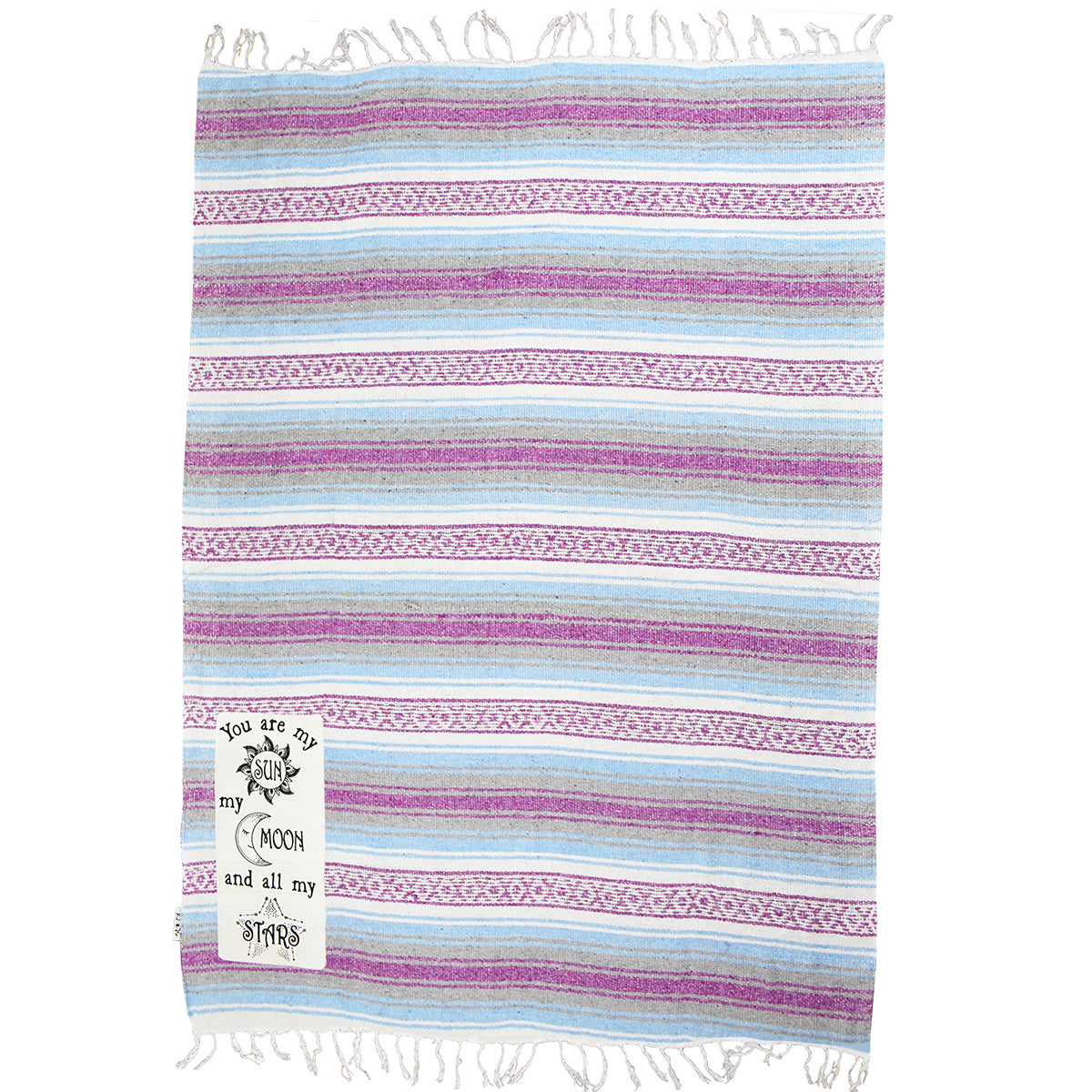 "Textured Family Blanket Single Layer ""Sun Moon Stars"" - Purple/Blue"
