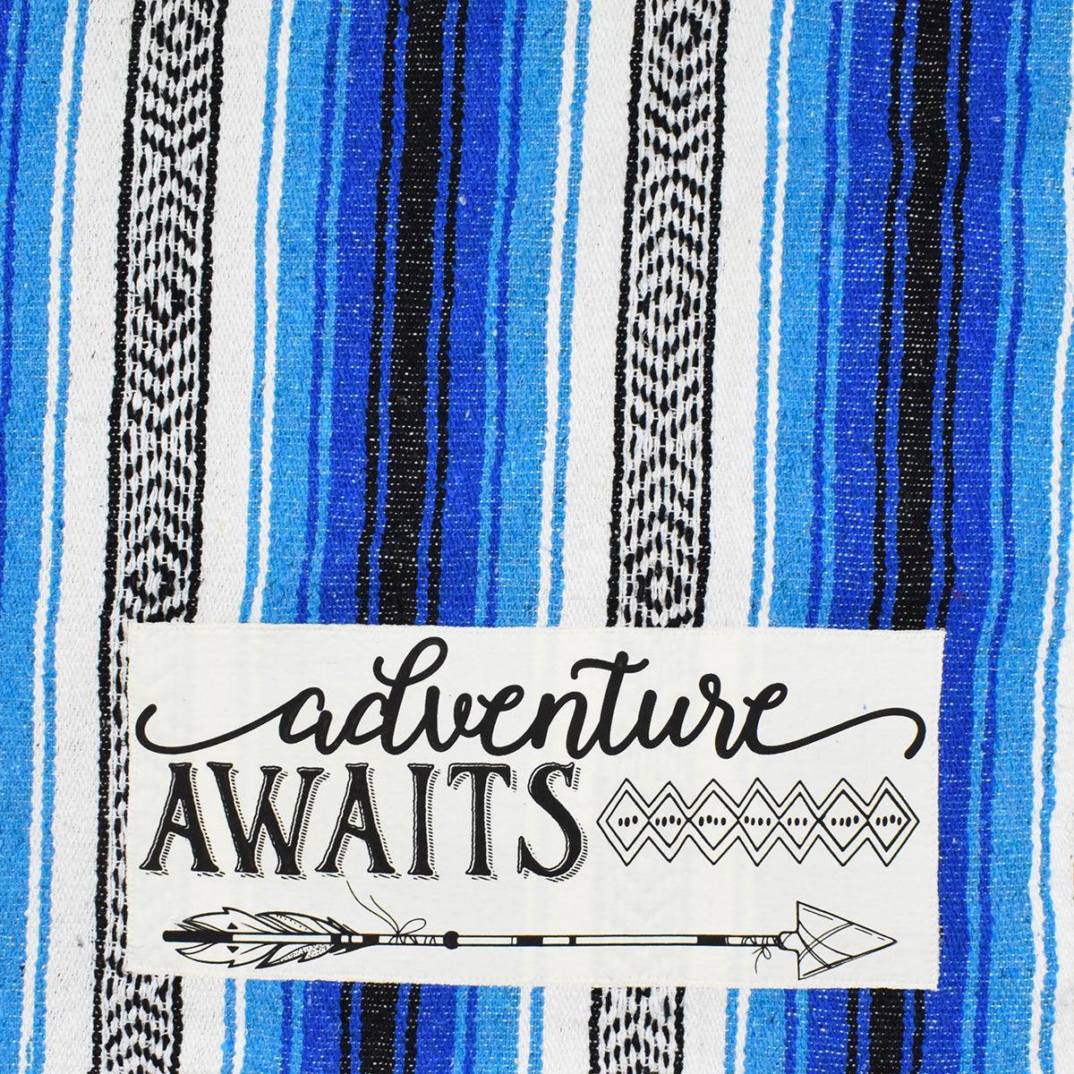 "Patch of ""Adventure Awaits"" Blue Mexican Throw Blanket"