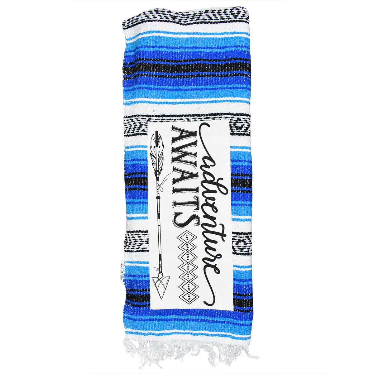"""Adventure Awaits"" Blue Mexican Throw Blanket"