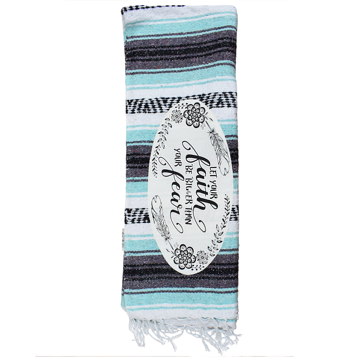 Faith mint color combo mexican throw blanket