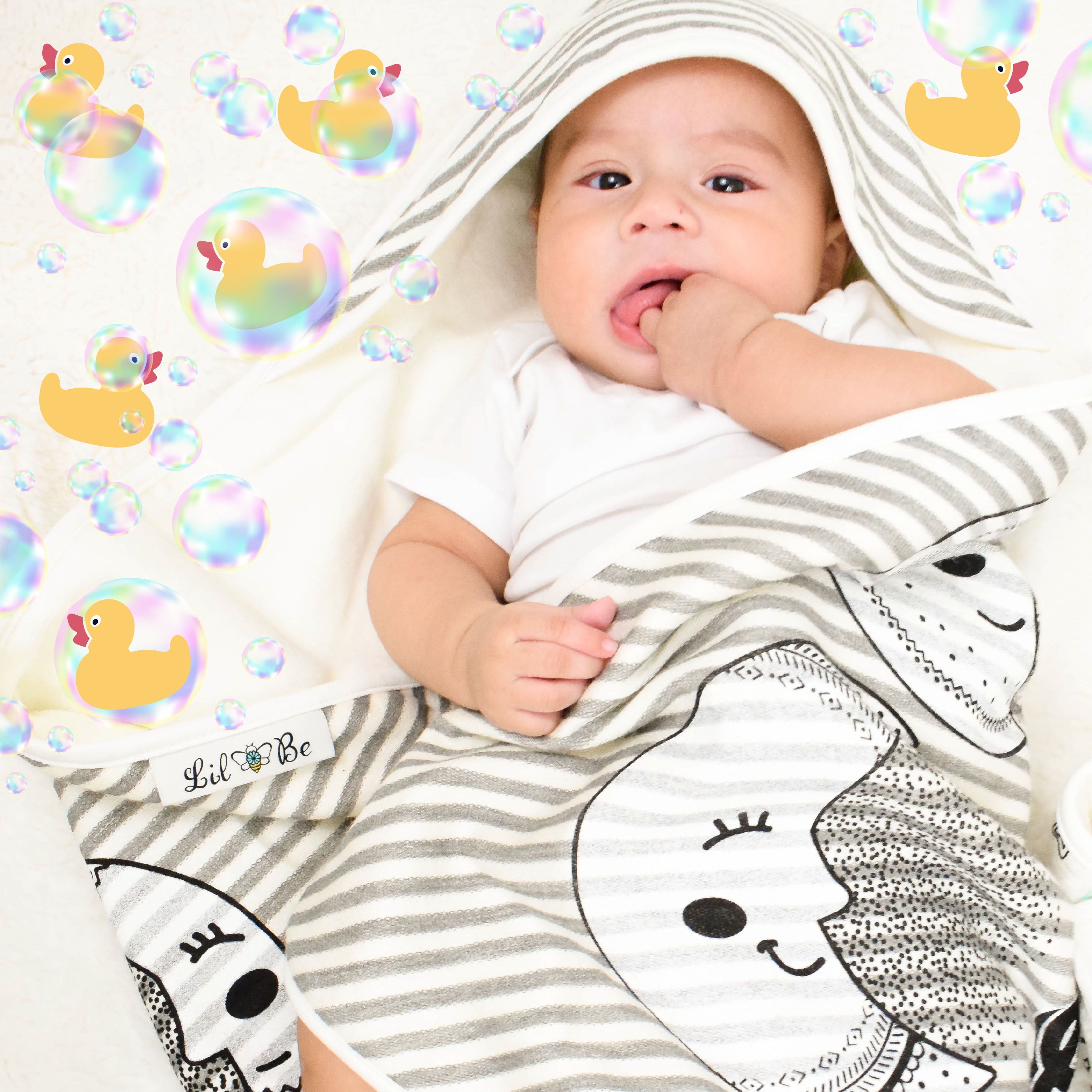 Baby Wrapped in Moon Phases Hooded Towel