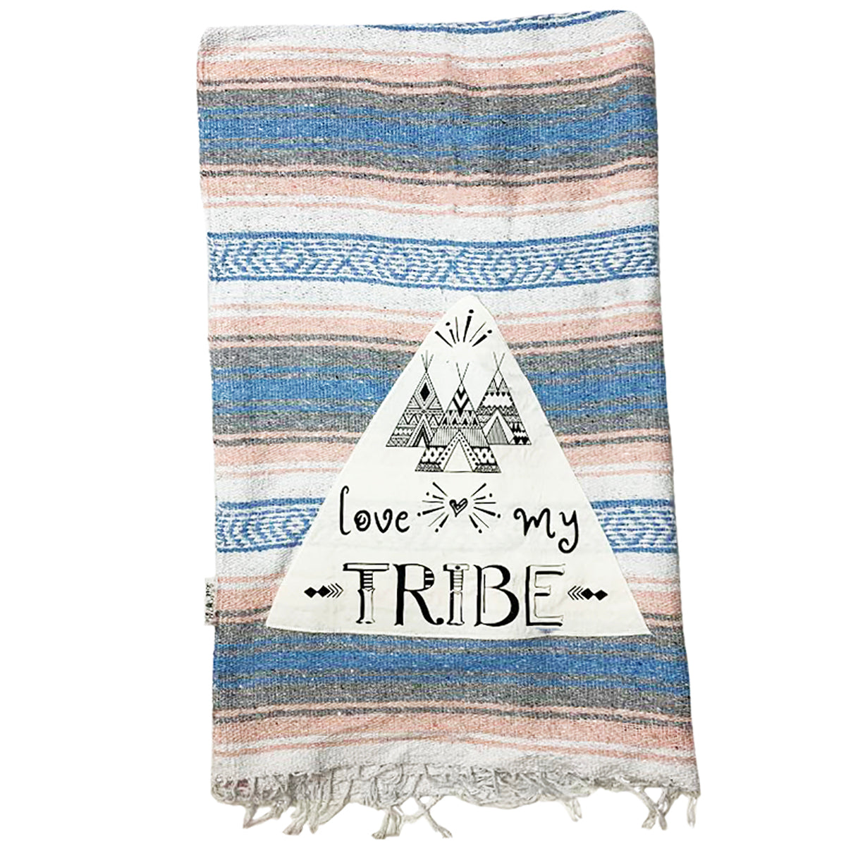 Love my Tribe Coral/Blue Mexican Throw Blanket