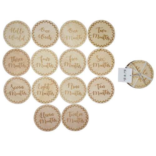 14 Monthly Milestones Wood Discs with Hello World, One Week, One Month to Twelve Months