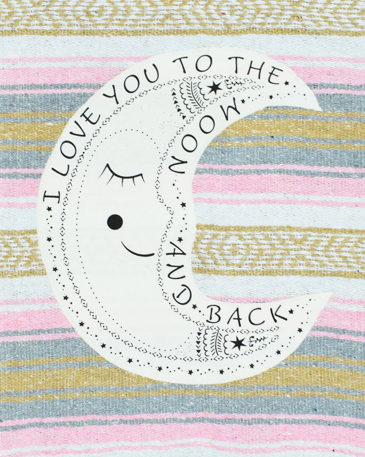 "Textured Family Blanket Single Layer ""I Love You to the Moon"" - Pink/Grey"
