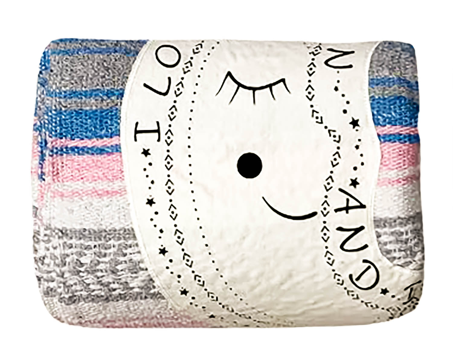 "Textured Family Blanket Single Layer ""I Love You to the Moon"" - Blue/Pink"