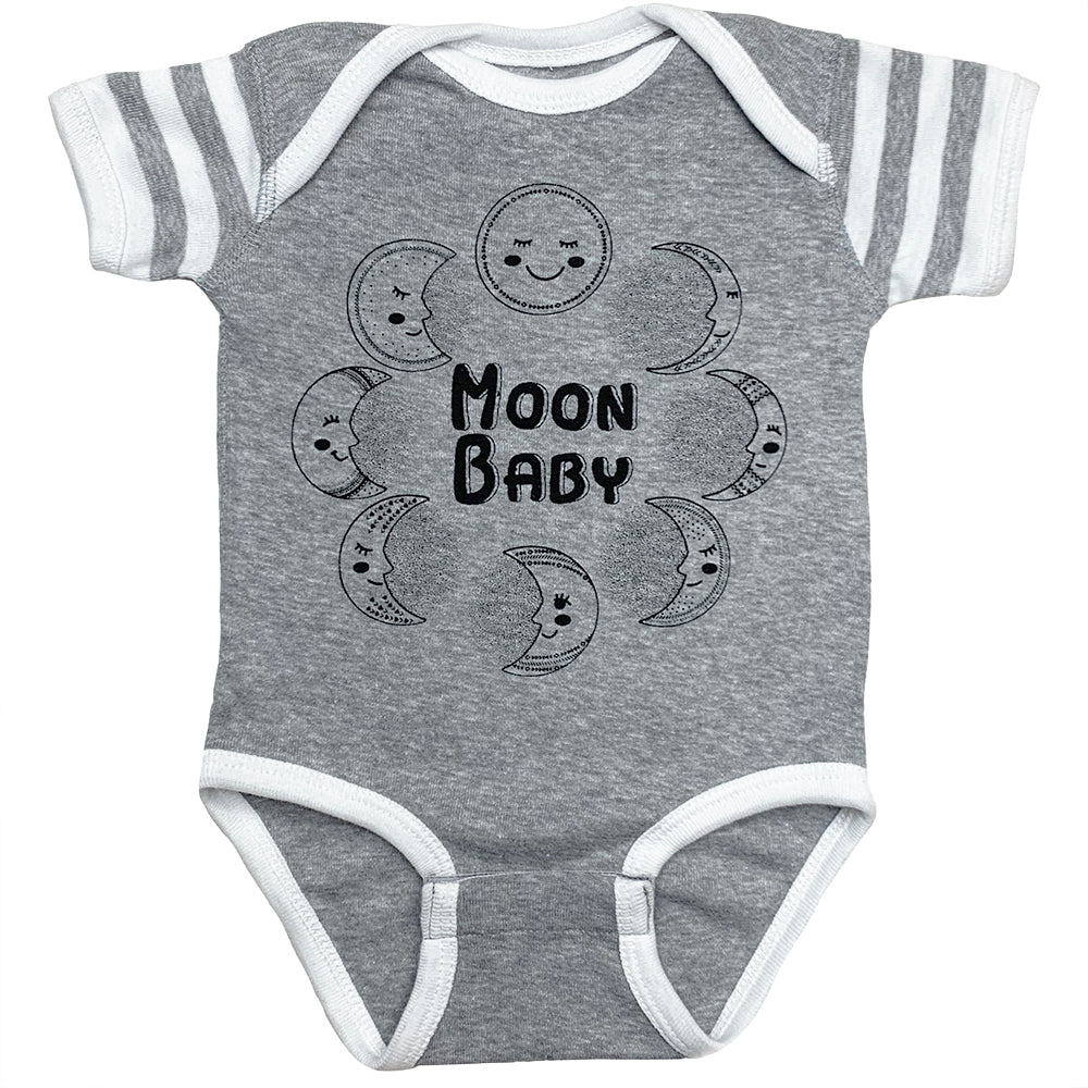 Moon Baby Onesie in Grey Heather and White Stripe Color