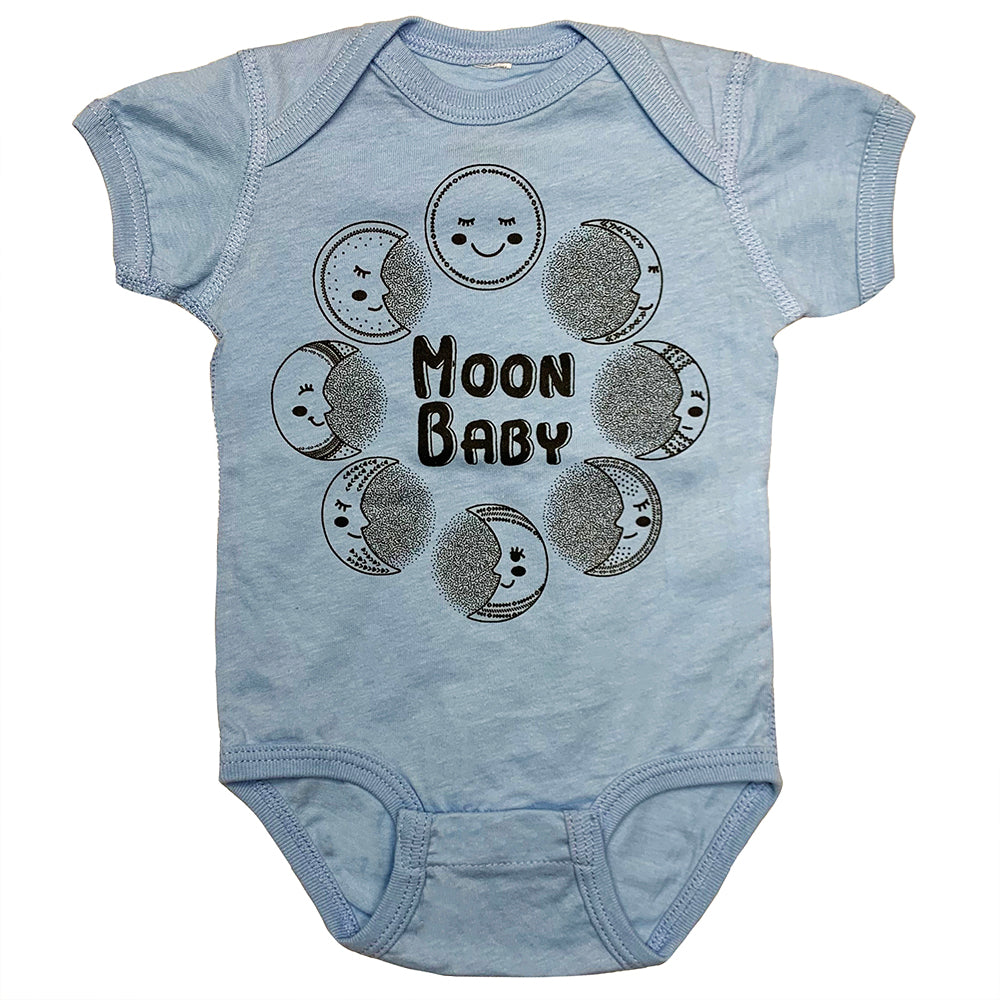 Moon Baby Onesie in Light Blue Color