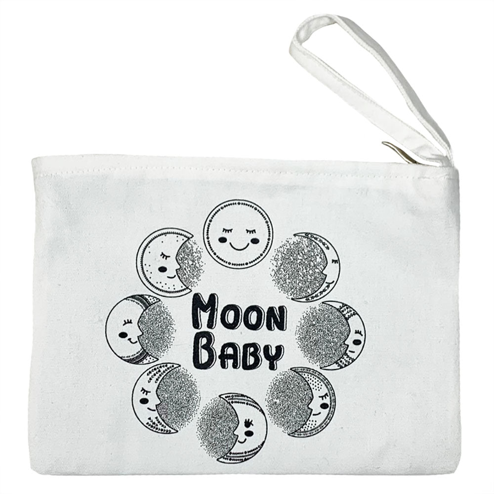 Natural Zipper Pouch with Moon Baby Graphic