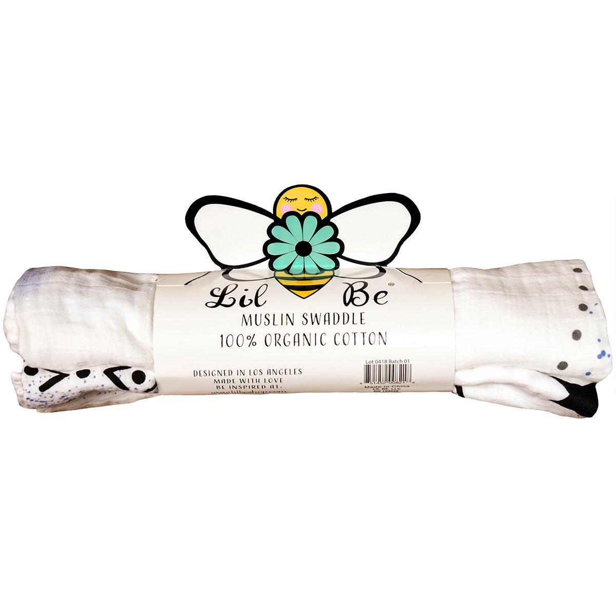 Organic Moon Swaddle Blanket with Back Lil Be Package View