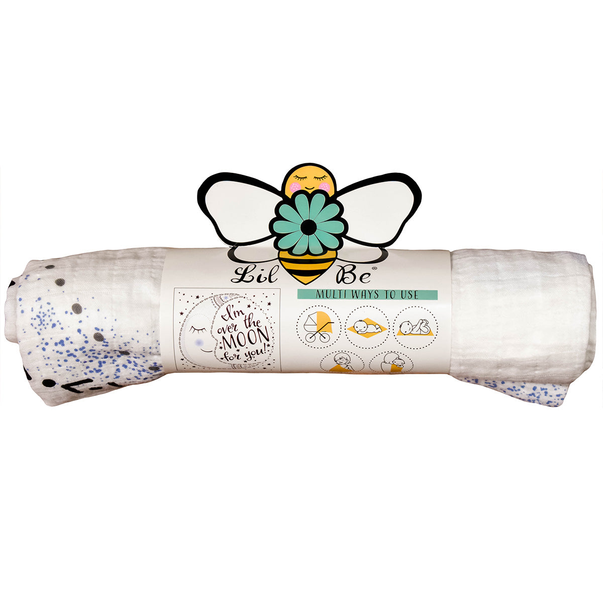 Organic Moon Swaddle Blanket with Front Lil Be Package View