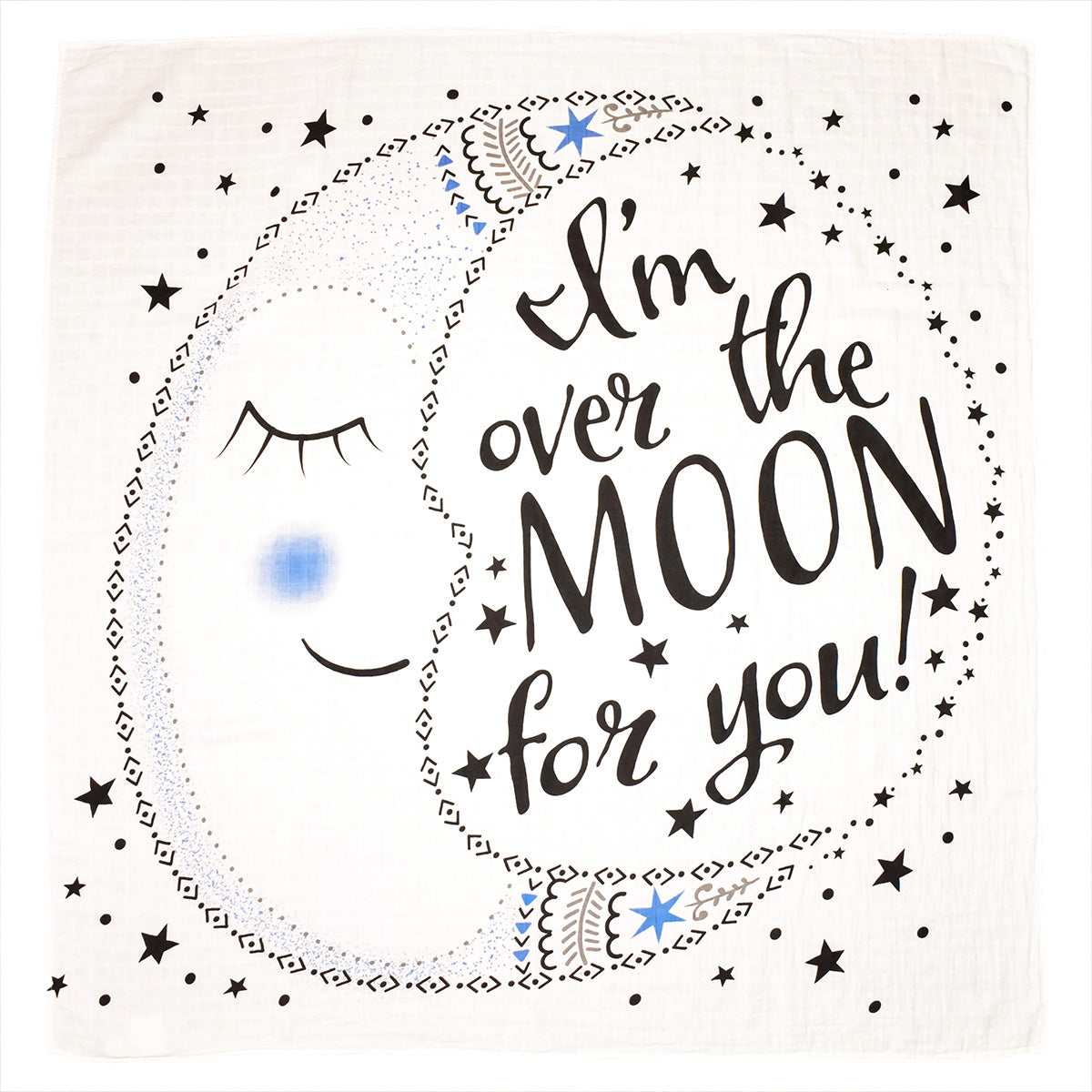 Organic Baby Swaddle Blanket with Moon Saying I'm Over The Moon For You Graphic