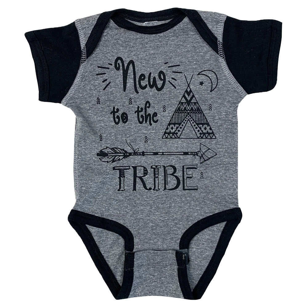 New to the Tribe Baby Onesie in Charcoal and Black Color