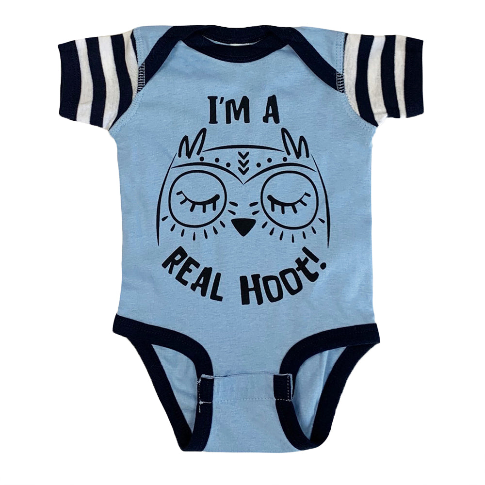 I'm a real hoot! baby bodysuit in blue with navy/white stripe sleeves