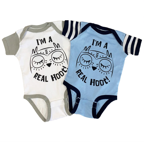 I'm a real hoot! baby bodysuit in two color ways