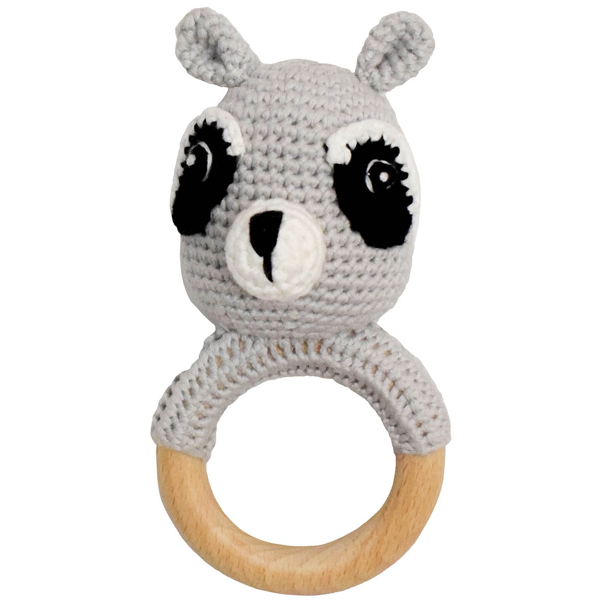 Light Grey Crochet Teether Rattle with Beechwood Ring Handle
