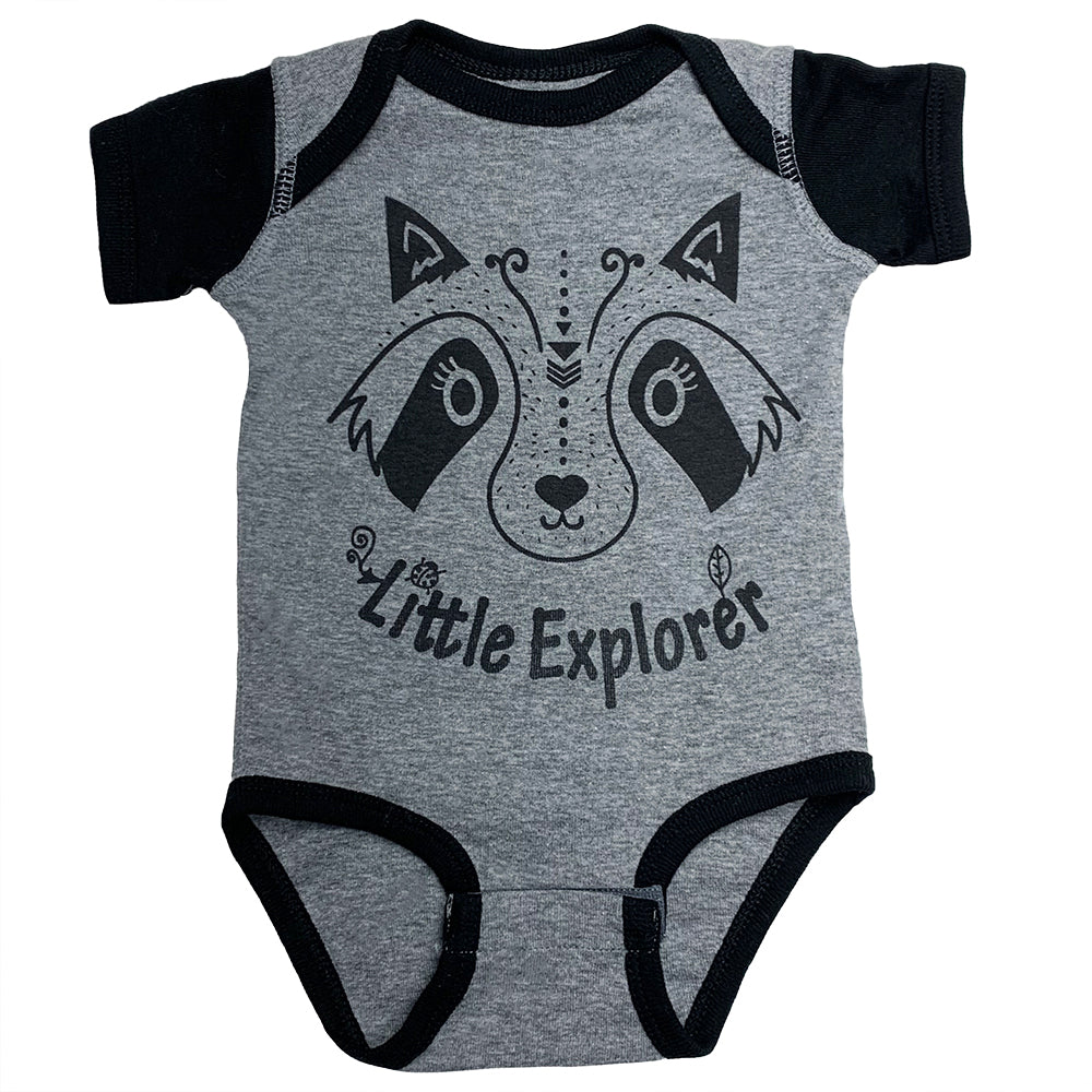 Little Explorer baby bodysuit in charcoal/black color way