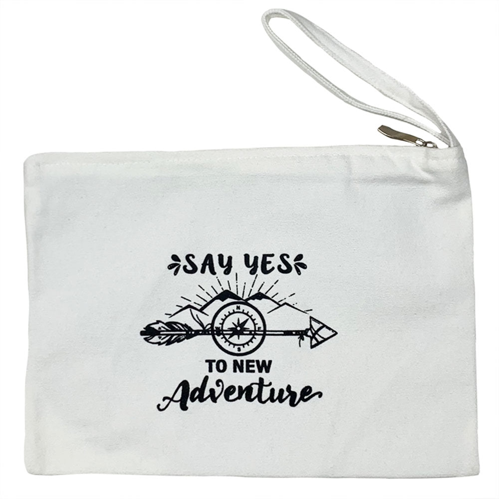 Natural Zipper Pouch with Say Yes To New Adventure Graphic