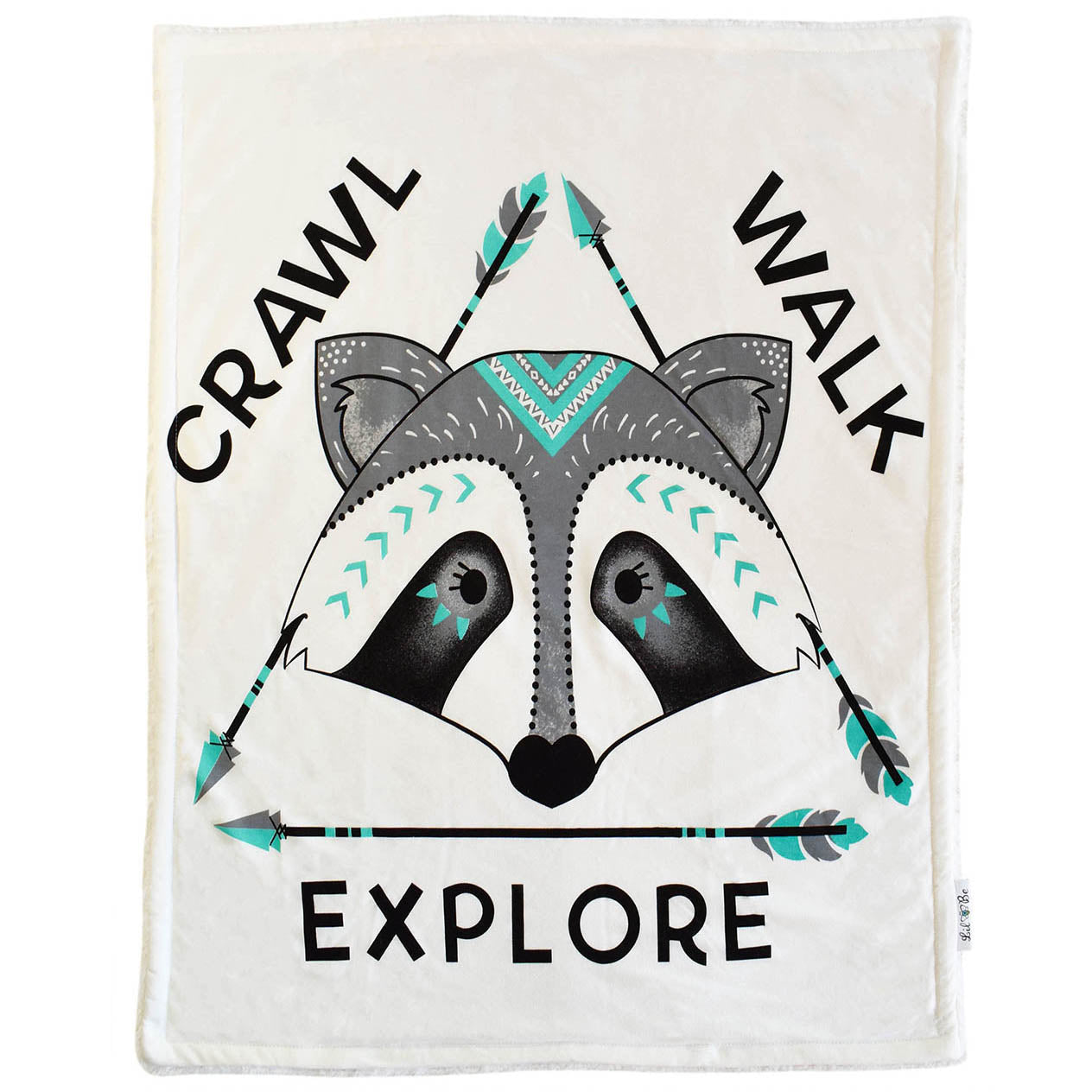 Crawl Walk Explore Raccoon baby blanket