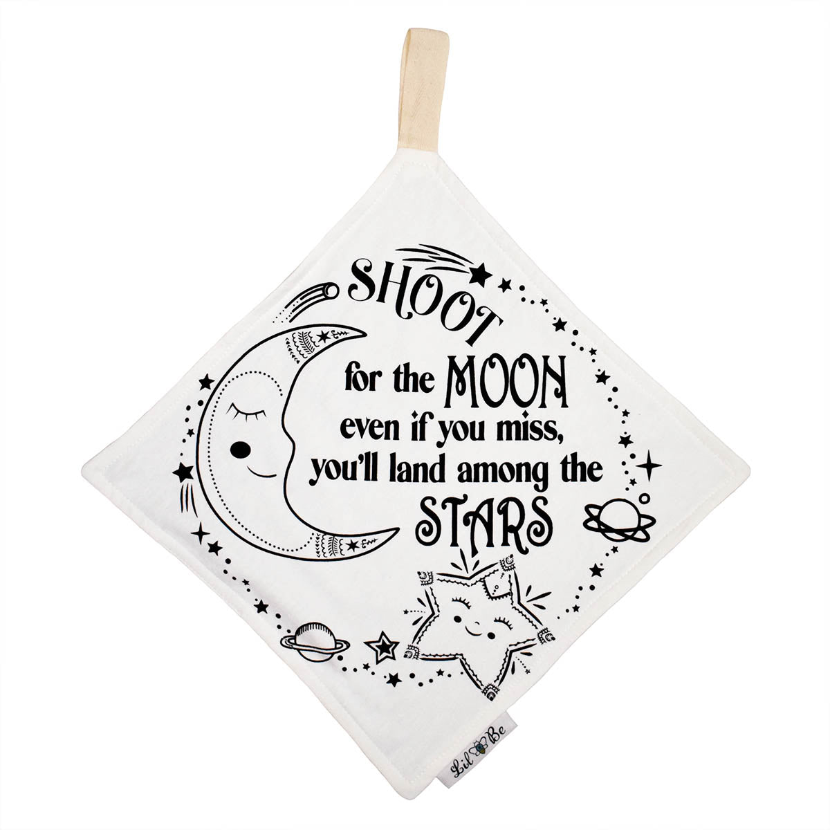 "Mini Blanket with Moon and Star Saying ""Shoot for the Moon even if you miss, you'll land among the Stars"" Graphic with tag to attached to teether"