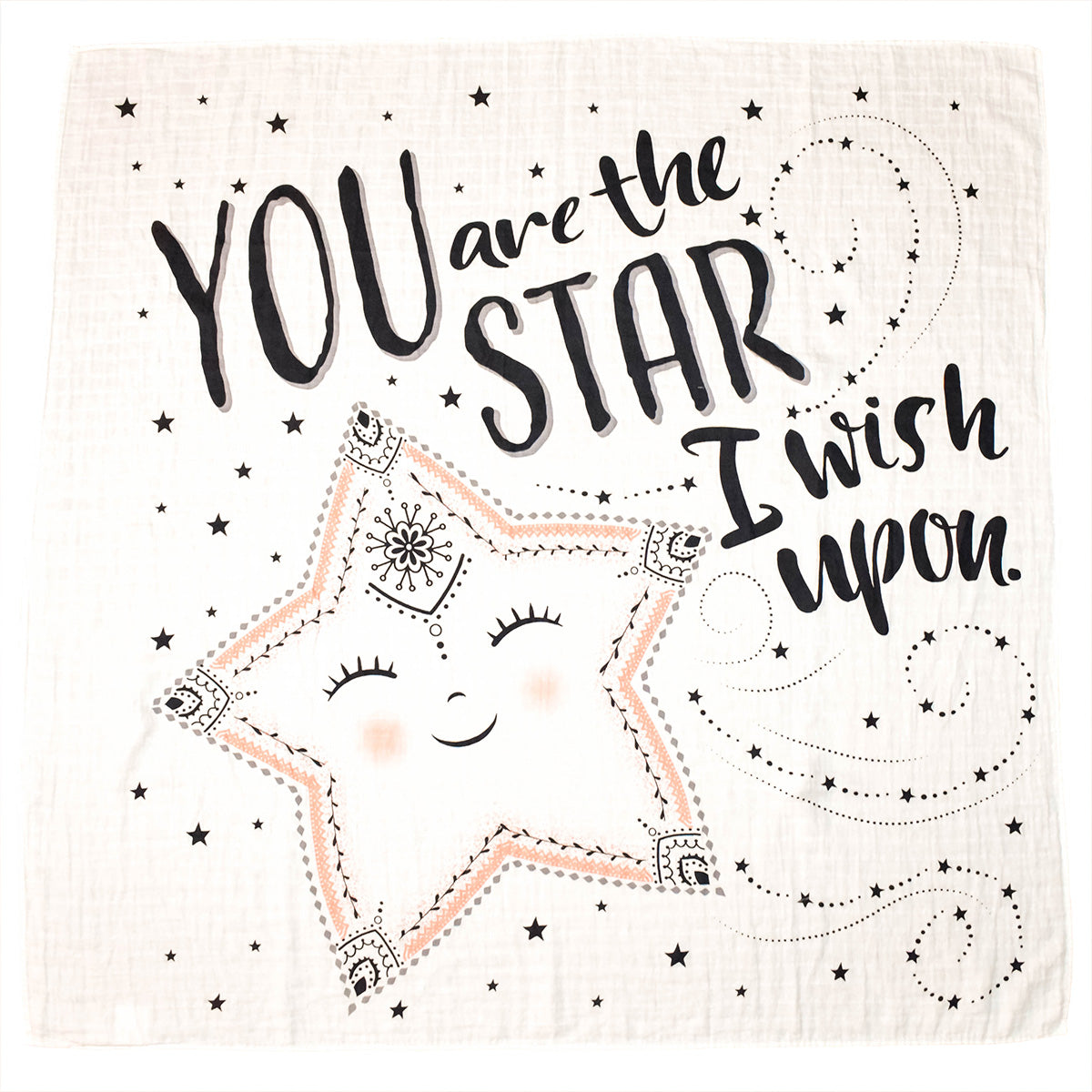 Star Organic Swaddle Blanket with You Are the Star I Wish Upon Graphic